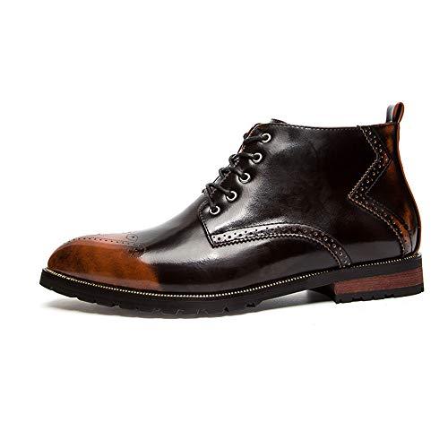 Parte en para Marrón EU de Grandes 37 Hombre Cremallera Zapatos Colores Superior Pincel Tallas tamaño Cordones Jusheng la Retro Negro de con Color Botines Clásicos vwASAnq5p7