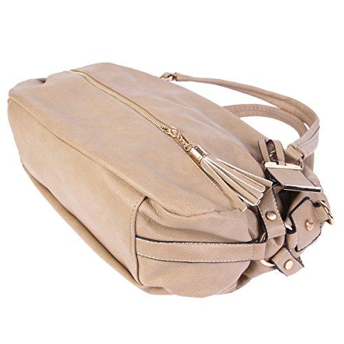 Damara Para Mujer Empire Genuine Leather Tote Bag marrón oscuro
