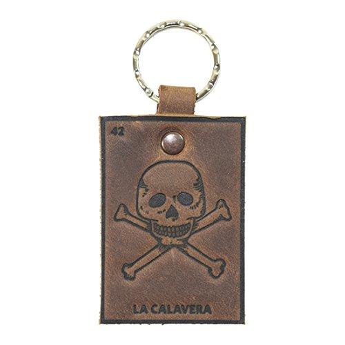 (Lotería! Bourbon Brown Leather Keychain by Hide & Drink (La Calavera (Skull)) )