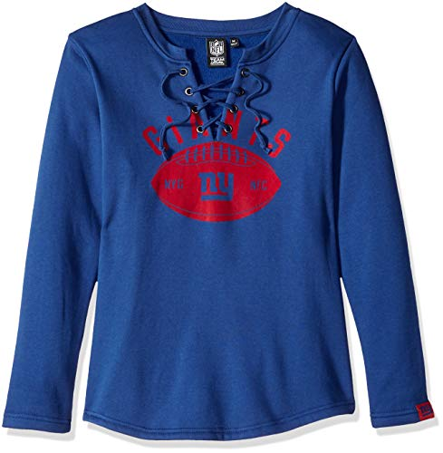 Icer Brands NFL New York Giants Women's Fleece Sweatshirt Lace Long Sleeve Shirt, Blue, Small - New York Giants Blue Coaches