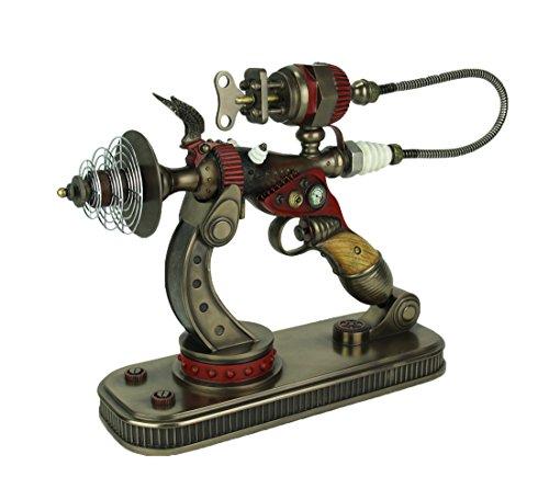 Statue Prop Display - Veronese Design Resin Statues Steampunk De-Optimizer Gun In Display Stand 22 X 13.5 X 5.75 Inches Bronze