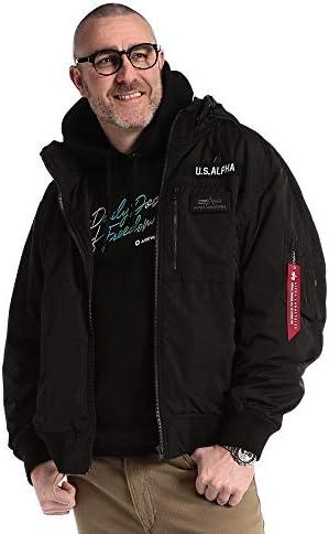 サカゼン ALPHA INDUSTRIES INC 大きいサイズ メンズ フード着脱 ワッペン リブスタンド ボンディング フルジップ ジャケット BLACK