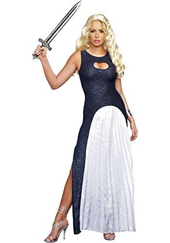 Khaleesi Halloween Costume (Dreamgirl Women's Queendom Come Warrior Queen Khaleesi Costume, Blue/White, X-Large)