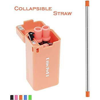 DmofwHi 3rd Generation Reusable Straws for Kids,Collapsible Metal Straw of  Eco-Friendly BPA Free Silicone 6 MM Large Diameter, Foldable Drinking