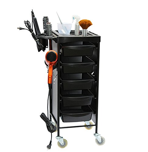 6 Tiers Salon Trolley Barber Cart Wheels Hairdressing Roller Storage Organizer Coloring Beauty SPA Tool Holder Black by SalonTrolley