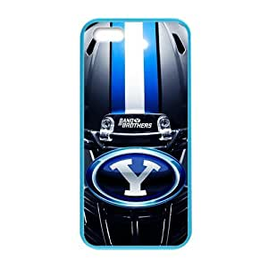 Generic Custom Design Brigham Young University NCAA BYU Cougars Teams Logo Plastic and TPU four Color DeepSkyBlue Violet Darkorange Palegodenrod Case Cover for iPhone5 iPhone5S