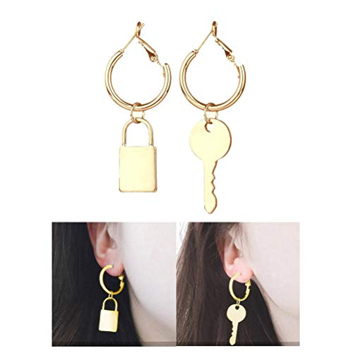 Creative Asymmetric Metal Key Lock Dangle Earrings Minimalist Geometric Big Circle Round Hook Drop Earring Women Fashion Ear Jewelry (Gold) - Dangle Lock