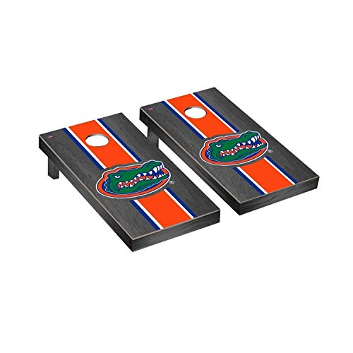 Victory Tailgate Regulation Collegiate NCAA Onyx Stained Stripe Series Cornhole Board Set - 2 Boards, 8 Bags - Florida UF Gators