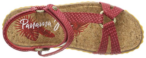Panama Jack Damen Caraibi Serpente Peeptoe Sandalen Rot (rosso)
