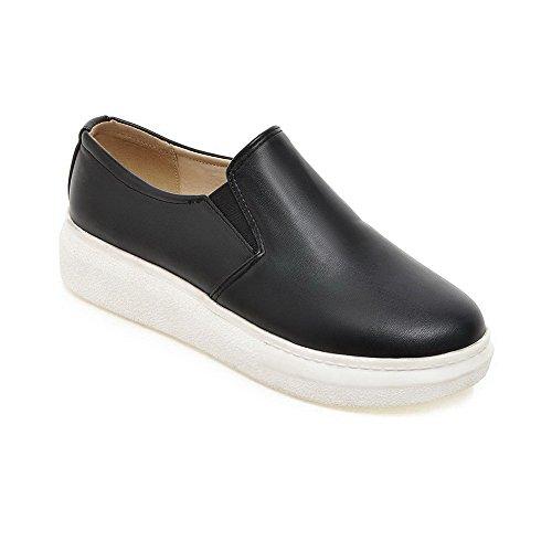 Allhqfashion Femmes Ronde Fermé Orteil Pull Pu Solide Bas-talons Pompes-chaussures Noir