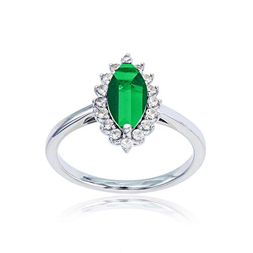 Sterling Silver Rhodium 10x5 Marquise Created Emerald & Round Created White Sapphire Ring