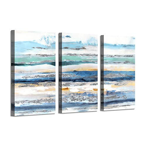 Abstract Seascape Picture Beach Artwork: Seaside Waves Silver Foil Wall Art on Canvas for Bedroom (34