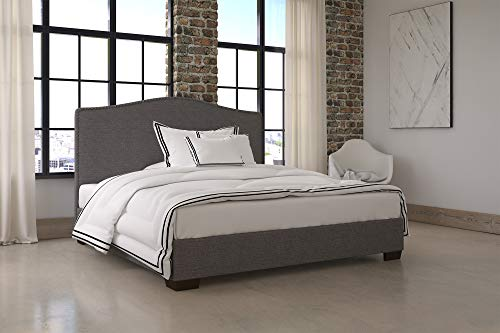 DHP Gavin Upholstered Bed with Nailhead Trim and Wood Slat Support System, King Size, Grey Linen