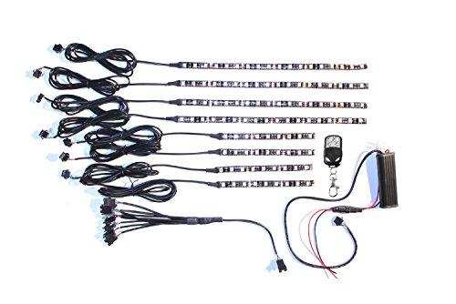 8pc Wireless Multi-color Flexible 108 LED Motorcycle Motor Light Kit
