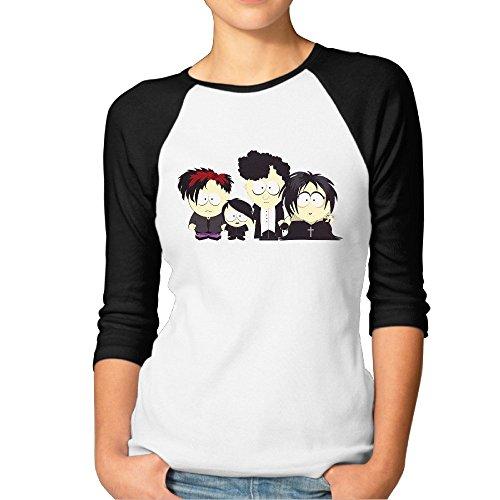 Price comparison product image Animation South Park Women's 3 / 4 Sleeve Raglan Baseball T-shirt Top XL Black