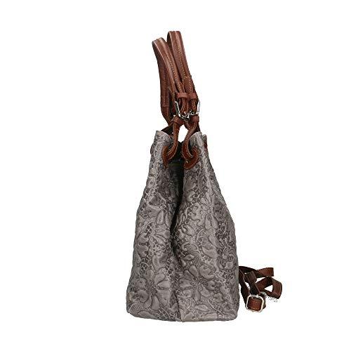 Bandoulière Gris Borse Sac Bag Cm Italy Chicca Made Véritable 33x28x17 Cuir À En In nUIOEwxqa