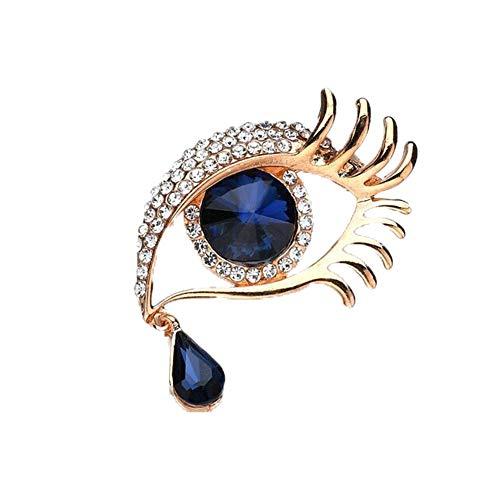 (AILUOR Angel Tears Brooch Pins, Elegant Rhinestone Sapphire Big Eyes Alloy Long Eyelashes Corsage Breastpin for Women Jewelry (Gold) )
