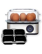 Venga! Multifunctionele eierkoker, met inzetstuk voor gepocheerde eieren, 500 W, zwart/roestvrij staal, VG EK 3000