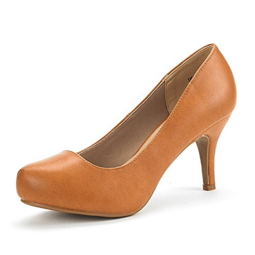 DREAM PAIRS Tiffany Women's New Classic Elegant Versatile Low Stiletto Heel Dress Platform Pumps Shoes Tan PU Size 10 (Pump Women Tan)