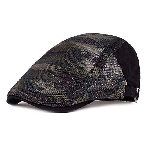 ZLSLZ Mens Summer Mesh Breathable Adjustable Camo Flat Irish Newsboy Cabbie Golf Sun Hat Cap Black