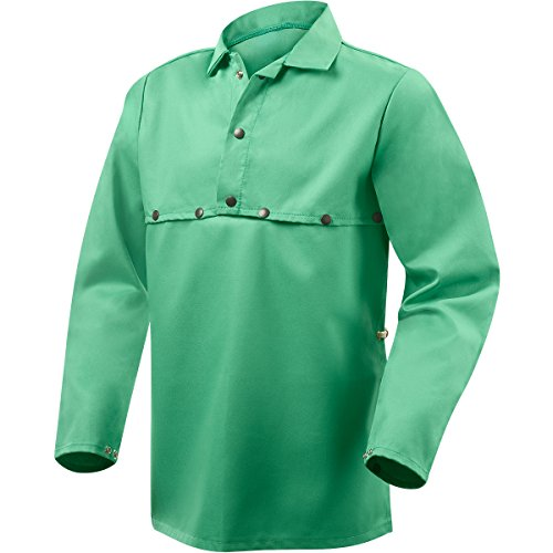 Flame Retardant Cape Sleeve - Steiner 1033-L Cape Sleeve With 19-Inch Bib, Weldlite Green 9.5-Ounce Flame Retardant Cotton, Large