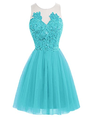 Lace Tulle Short Cocktail JAEDEN Dress Dress Back Gown Blue Homecoming Prom Party See Sleeveless Through AqIaa5x