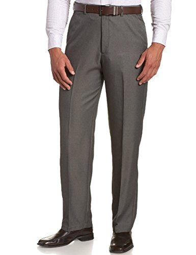 (Sportoli Men's Cool Classic Fit Hidden Expandable Waist Plain Front Dress Pants - Graphite (Size 42W x 34L))