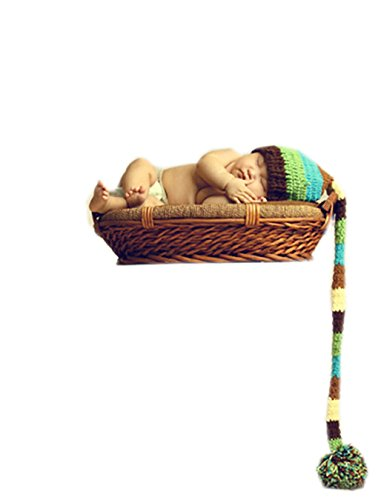 Ufraky Unisex Newborn Knitted Long Tail Hat Cap Baby Boy Girl Photography (Infant Long Cap)