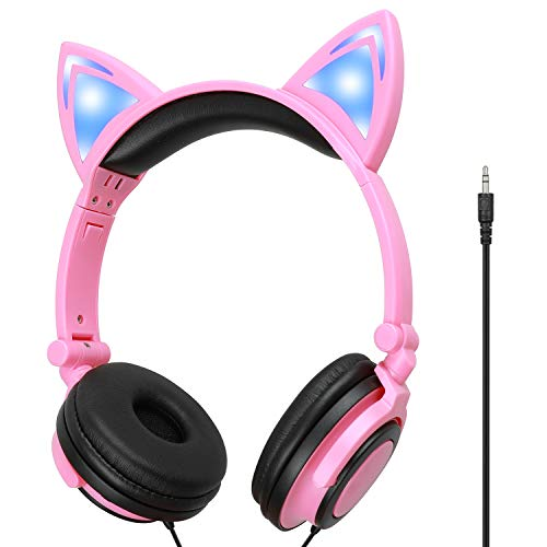 Kids Headphones,On-Ear Comfortable with Cute LED Glowing Cat Ears Headphones for Kids,Lightweight Noise-Canceling Headset for Children Toddler Girls Boys Headphones for Cellphones Ipad Tablet (Pink)
