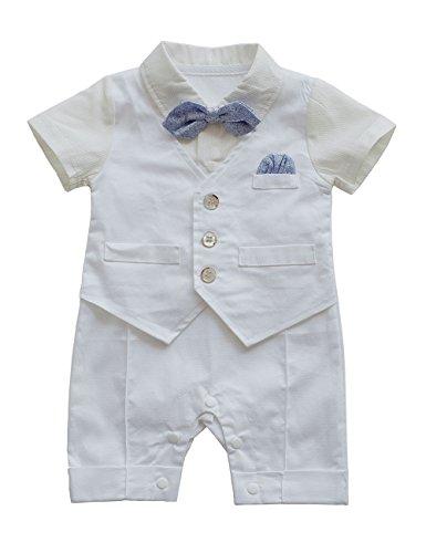 HeMa Island HMD Baby Boy Gentleman White Shirt Waistcoat Bowtie Tuxedo Onesie Jumpsuit Overall Romper ¡