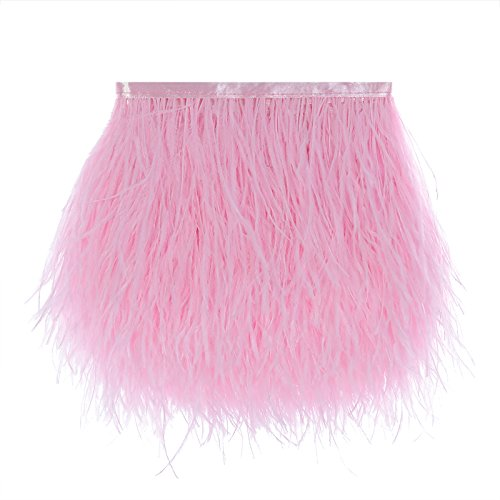 Pink Ostrich Feathers - Ostrich Feathers Trims Fringe with Satin Ribbon Tape for Dress Sewing Crafts Costumes Decoration Pack of 2 Yards (Pink