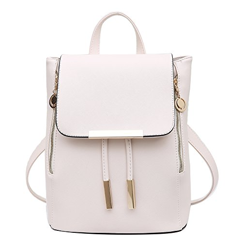 Women Backpack Leather Purse Mini Casual Daypack for Girls Schoolbag Fashion Shoulder Bag, White