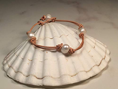Anklet Leather Double - Triple Freshwater Pearl Double Stranded Leather Anklet