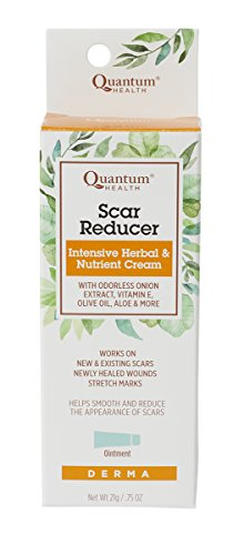 Quantum Health Scar Reducer, Helps in the Repair & Reduction of Scars, Wounds, & Stretch Marks, Intensive Herbal & Nutrient Cream with Vitamin E, Aloe, Olive Oil & More, 21gm