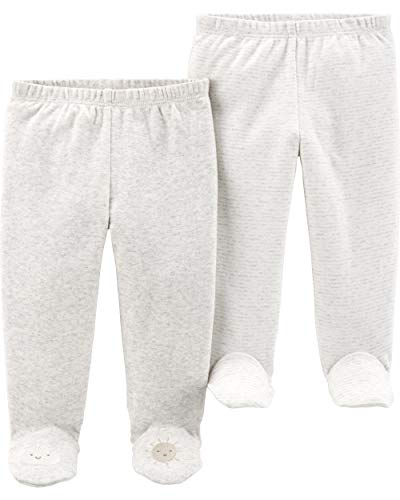 Carter's Baby Boys 2 Pack Pants, Ivory Footie, 3 Months