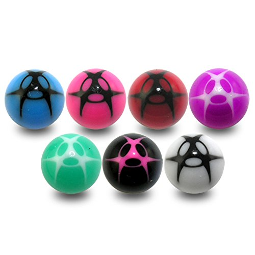 (10 Pieces (5 Pairs) Mix Color Pack 1.6x8MM Threaded UV Fancy Acrylic Ball)