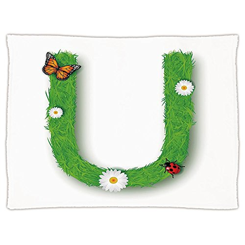 Super Soft Throw Blanket Custom Design Cozy Fleece Blanket,Letter U,Capital U with Daisy Petals Ladybug Garden Blossoms Girls Nursery Theme Decorative,Green Multicolor,Perfect for Couch Sofa or Bed