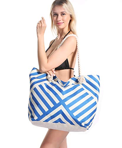 (Genovega Women Beach Tote Bag Pool - Extra Large Big Weekender Canvas Cotton Rope Drybag with Zipper Summer (Not Straw Mesh) Tone with Beach Towel Hat Blue Stripe)