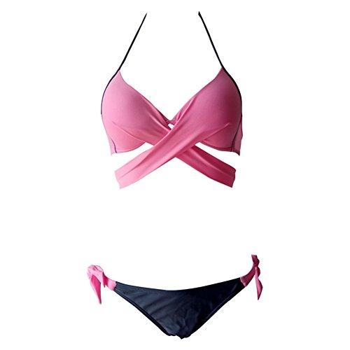 del Bikini Bagno Colore Bendaggio up Costume Laden Insieme di Push Rosa da Bequemer Donna Bikini Solido vg1Sq