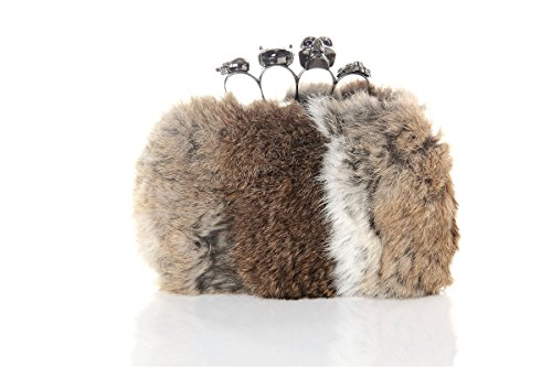 Top Frame Ladies Wallet - GODEAGLE Faux Rabbit Fur Clutch Purse/Clutch Evening Bags Wedding/Party Evening Handbags/Top Handle Bags with Metal Frame for Women Ladies Gift (Beige)