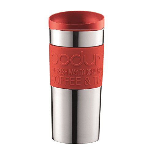 Bodum - Travel Mug - Vacuum Insulation Spill Proof - Stainless Steel Plastic Rubber and Silicone - Red Bodum Stainless Steel Travel Mug