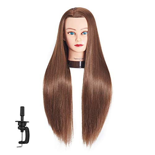 26-28 Mannequin Head Hair Styling Training Head Manikin Cosmetology Doll Head Synthetic Fiber Hair Hairdressing Training Model With Free Clamp (Golden Brown)
