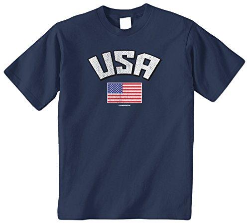 Threadrock Big Boys' USA American Flag Youth T-Shirt S Navy