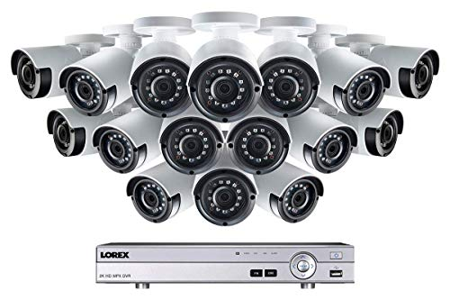 Lorex Weatherproof Indoor/Outdoor Home Surveillance Security System, 4MP Super HD IP Bullet Cameras w/Long Range Color Night Vision (16 Pack) - Includes 16 Channel 4K DVR w/ 3 TB Storage Hard Drive