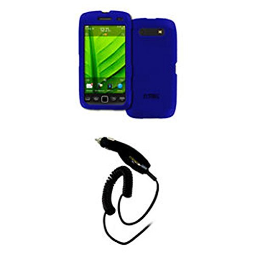 9860 Hard Case - EMPIRE BlackBerry Torch 9860 9850 Blue Rubberized Hard Case Cover + Car Charger (CLA) [EMPIRE Packaging]