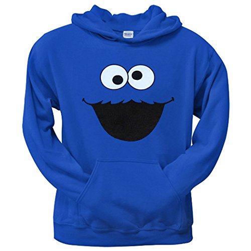 Cookie Monster Face Adult Hoodie-Small