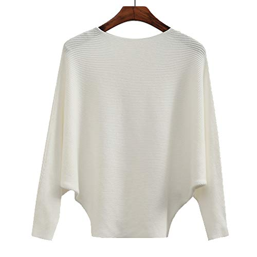 - Women's Fashion Winter Tops Cashmere Sweaters Batwing Casual Jumper Female White