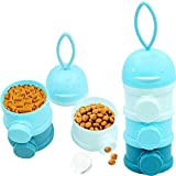 Mihachi Travel Bowls, Portable Pet Treat Can, Twist-Lock Stackable Dispenser, Spill Proof Multiply Layers Plastic Bottle(BPA Free), Food Storage Container for Small Dogs and Cats Outdoors