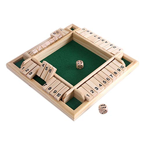 bouti1583 4-Player Shut The Box Wooden Table Game Classic Dice Board Toy ()