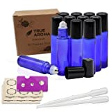 cobalt True Aroma, 12 pcs, 10ml Cobalt Blue Glass Roller Bottles with Stainless Steel Roller Ball for Essential Oil - Includes 12 Pieces Labels, Essential Oils Opener, 2 Droppers (12pc Cobalt Blue Set)